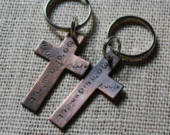 Custom Cross Godparent Keyring, Gift for Godparents, Gift Godfather, Gift godmother, Custom Godparent Keyrings, Handstamped Godparent Gift