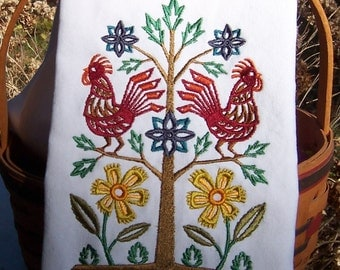 Hungarian Rooster Tree Tea Towel/ Embroidered Kitchen Dish Towel/ Embroidered Dish Towel/Embroidered Tea Towe/Embroidered Kitchen Towel