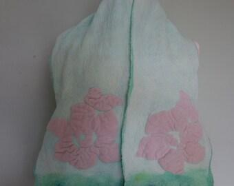 Silk chiffon scarf nuno felted silk scarf light green silk scarf pink flowers pistachio green chiffon silk nuno felted scarf accessory silk