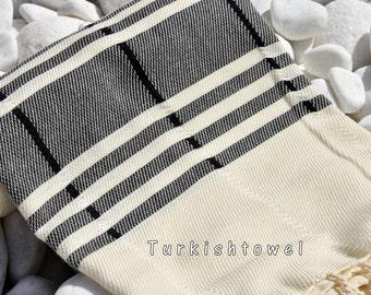 Turkishtowel-Soft-Hand woven,warp&weft cotton Bath,Beach Towel-Point twill pattern,black stripes on natural cream