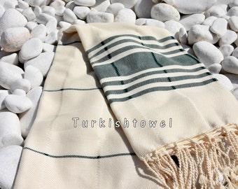 Turkishtowel-Soft-Hand woven,warp&weft cotton Bath,Beach Towel-Point twill pattern,dark green stripes on the natural cream