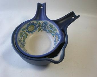 SALE Set of 2 Vintage Figgjo Flint Flameware Design Norway Folklore Ceramic Pots