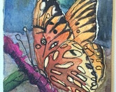 ACEO, Original Watercolor Painting, Butterfly Art, Artist Trading Card, Animal Painting, Animal Art, Mini Painting, Nature Painting, insects