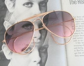 Vintage AVIATOR SUNGLASSES..dapper. hipster. atomic. retro. mad men. party. funky. groovy. costume. mens. womens. unisex sunnies. tinted