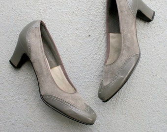 1960s GRAY SUEDE Two Toned Classic Heels...size 5 women...pumps. shoes. heels. oxford. mid century. mod. fancy. designer. selby. 1960s heels