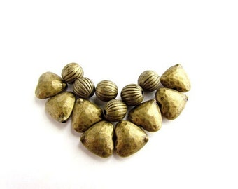 Textured Metal Hearts with Corrugated Bead Mix/ Heavy Solid Metal Beads