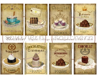 CHOCOLAT - Digital Collage Altered French Chocolate Desserts 2.5x3.5 inch Background Scrapbooking Craft Supplies Gift Tag Printable