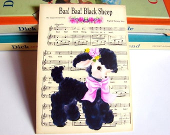 Small Ready to Frame Print * Baa Baa Black Sheep Mother Goose Fairy Tale Nursery Rhyme Sheet Music Baby Toddler Kids Room Home Decor