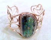 RESERVED FOR M Amazing Boulder Opal sterling silver cuff