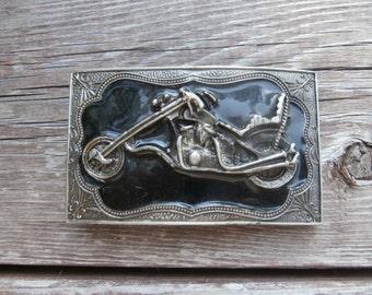 Motorcycle and Black Enamel Belt Buckle