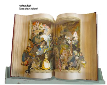 """Fairy tale altered book """"Tales Told in Holland"""" vintage book"""