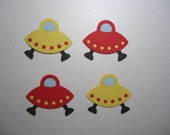 4 UFO Embellishments Die Cuts Aliens Space Galaxy for Scrapbooking Cards and Paper Crafts