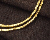 90 of Karen hill tribe 24k Gold Vermeil Style Cube Beads 1.5mm. 6.5 inches :vm0570