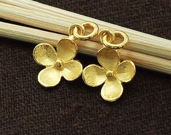 2 of 925 Sterling Silver 24k Gold Vermeil Style Flower Charms 10.5 mm. :vm0522