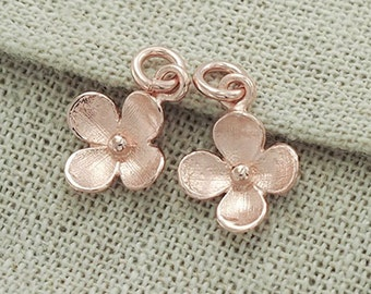 2 of 925 Sterling Silver Rose Gold Vermeil Style Flower Charms 10.5 mm. :pg0004