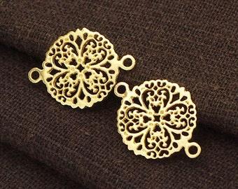 2 of 925 Sterling Silver 24k Gold Vermeil Style  filigree Flower Connectors,Links 13mm. :vm0536