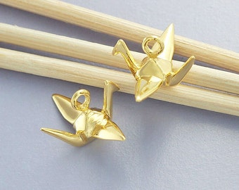 2 of 925 Sterling Silver 24k Gold Vermeil Style Origami Bird Charms 6x14mm.Polished Finish.:vm0551