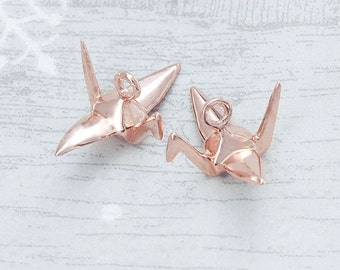2 of 925 Sterling Silver Rose Gold Vermeil Style Origami Bird Charms 6x14mm.Polished Finish. :pg0012