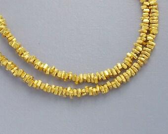 180 of Karen hill tribe Silver  24k Gold Vermeil Style Little Stick Beads 1.8x0.8 mm. :vm0345