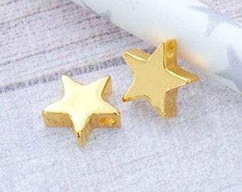 2 of Sterling Silver  24k Vermeil Style  Star Beads 7.5mm. :vm0559