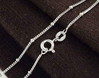 20 inches of 925 Sterling Silver Curb Diamond Cut Bead Chain Necklace 1.2mm  :th2369-20