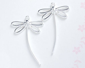 2 of 925 Sterling Silver Dragonfly  Pendants 18x30mm.  :tm0109