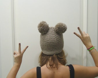 Hand Crocheted Light brown  beret with pompom  Ready to Ship-adult hat-baby hat