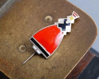 Vintage metal brooch pin, Woman in national dress 1970-1980