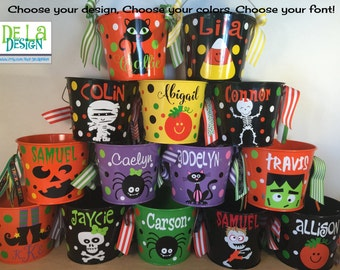 Personalized halloween trick or treat metal bucket, 5 quart pail, candy bag, gift basket, lots of colors and designs, pumpkin, skeleton, cat
