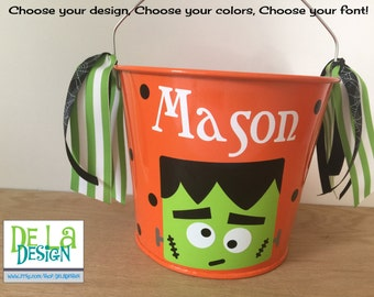 Halloween bucket: Personalized halloween trick or treat metal bucket, 5 quart, Frankenstein, other colors and designs available