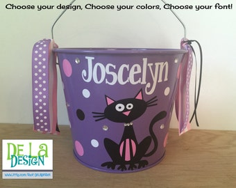 Personalized halloween trick or treat basket, 5 quart metal bucket, purple with black cat, other colors and designs available