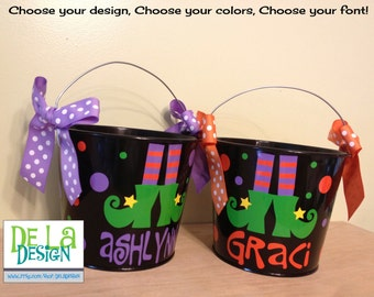 Halloween bucket: Witch's feet, boots, stockings Personalized halloween trick or treat metal bucket, 5 quart pail, LOTS of colors