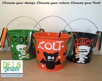 Halloween bucket: Personalized halloween trick or treat metal bucket, 5 quart, black with skull and crossbones, more colors and designs