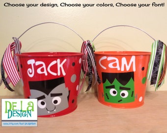Halloween bucket: Personalized halloween trick or treat metal bucket, 5 quart, Dracula, vampire, other colors and designs available