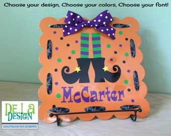 """Halloween Personalized magnetic board, scalloped 12""""x12"""" Welcome door sign, Witches feet design, last name, polka dots, ribbon, office decor"""