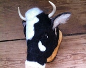 ON SALE needle felted holstein cow mount style fake taxidermy by feltfactory - READY To Ship