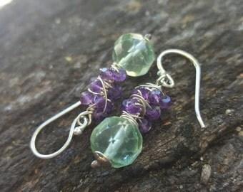 Fluorite and amethyst spiral earrings, wabi sabi wrap earrings, gemstone spiral earrings, gemstone drop earrings, fluorite earrings