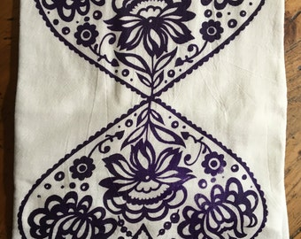 Double Heart Tea Towel-Eggplant