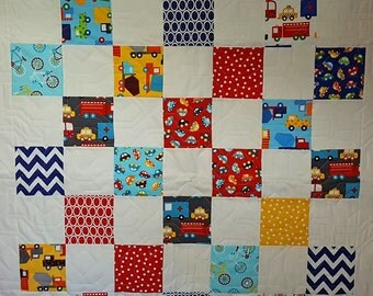 "Handmade ""On the Move"" Quilt with Cars, Trucks and Bikes"
