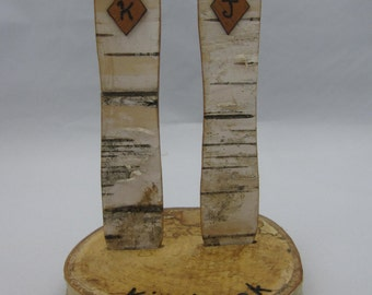 Snowboard Wedding Cake Topper, Birch Bark- personalise your order  with hats & woodburning