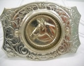 Vintage Silver Horse Belt Buckle With Movable Center