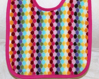 Baby Girl Toddler Bib Everyday Basic Bib with a Colorful Diamond Pattern in 100% Cotton Terry with a Pink Trim for Your Toddler Baby Girl