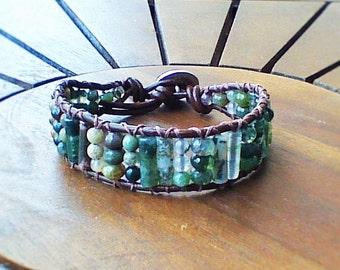 Fancy Jasper Pattern Wrap Bracelet