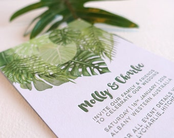 Letterpress invitation, SAMPLE, wedding, engagement, save the date, tropical palm leaves, palm leaf invite, digital image letterpress text