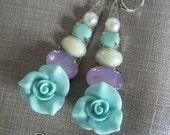 Statement earrings, multicolor, earrings, mint blur, mint green, blue rose, teardrop earrings, silver, autumn, floral, rose, flower earrings