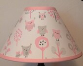 Owl Pink and Gray Fabric Nursery Lamp Shade M2M Pottery Barn Kids Bedding