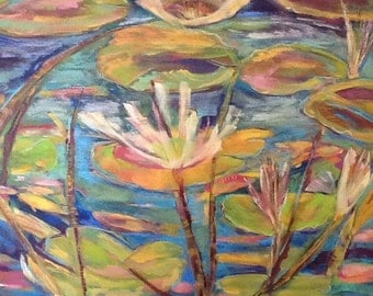 """Lillies 30""""x24x1.5 Semi-Abstract Acylic Painting on canvas"""
