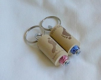 Cork Barefoot Keychains with a beautiful butterfly print on a Blue or on a Pink Lampwork Bead