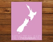 Custom New Zealand, Personalized Country Print, Country Love, Country Map, Country, Heart, Silhouette, 8 x 10 Wall Art Print