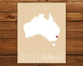 Custom Australia, Personalized Country Print, Country Love, Country Map, Country, Heart, Silhouette, 8 x 10 Wall Art Print